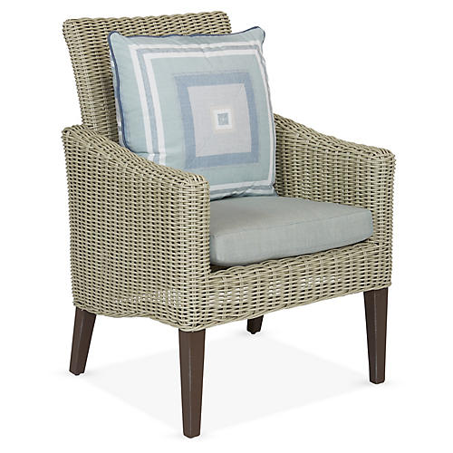Requisite Armchair, Gray/Blue Sunbrella