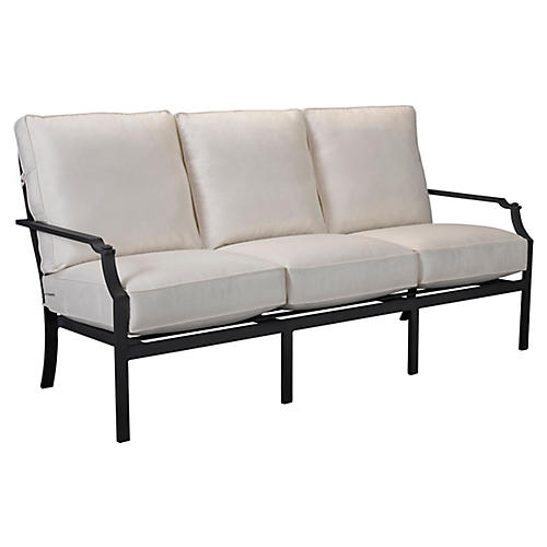 Raleigh Sofa, Black/White Sunbrella