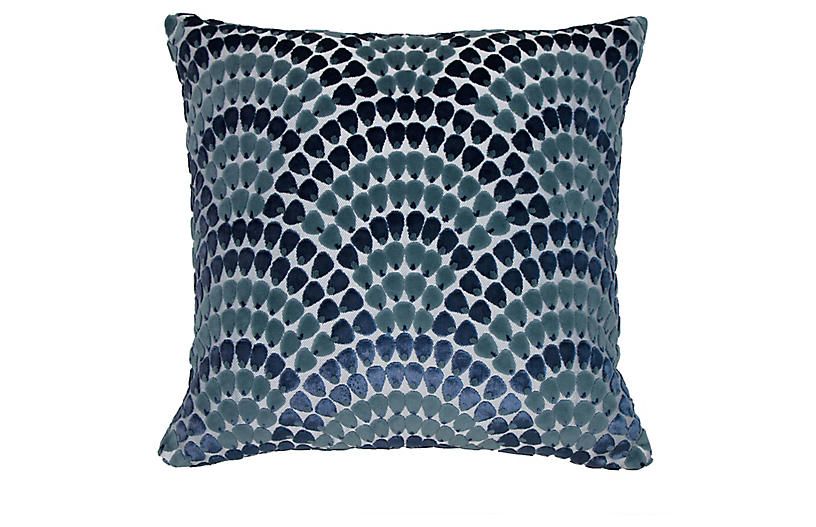 Landis 22x22 Pillow, Sherpa Blue/Teal Velvet
