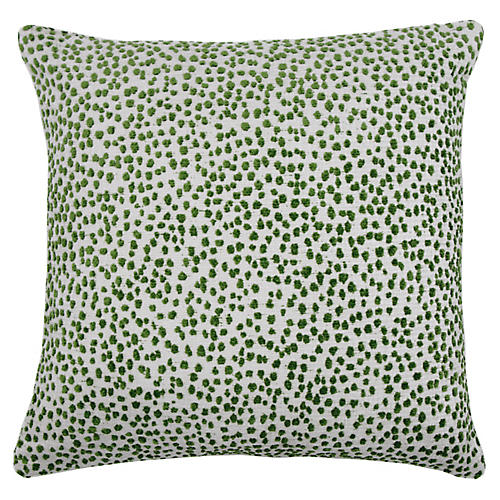 Lola 22x22 Dots Pillow, Emerald/White