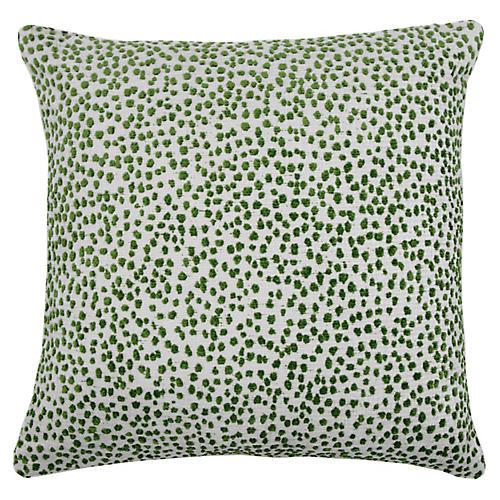 Lola 22x22 Dots Pillow, Emerald/White