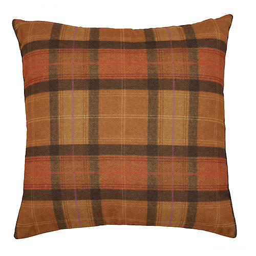 Nancy 22x22 Plaid Pillow, Amber/Black