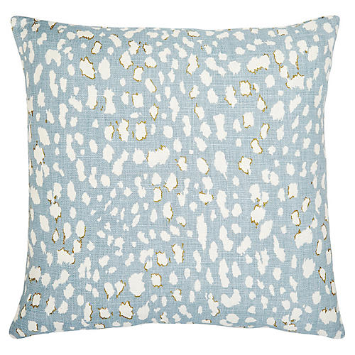 Ollie 22x22 Pillow, Sky Blue/White Linen
