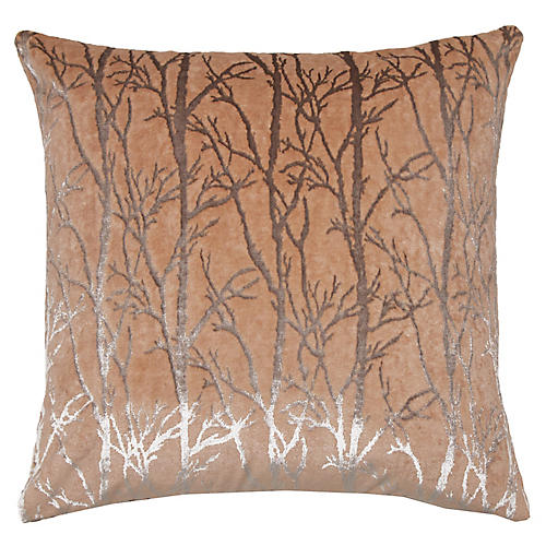 Verona 22x22 Pillow, Peach/Silver Velvet
