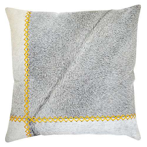 Windsor 22x22 Pillow, Yellow/Gray