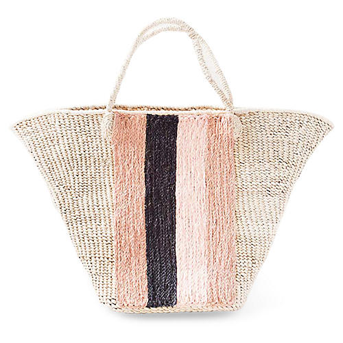 Striped Panel Tote, Natural/Pink/Navy