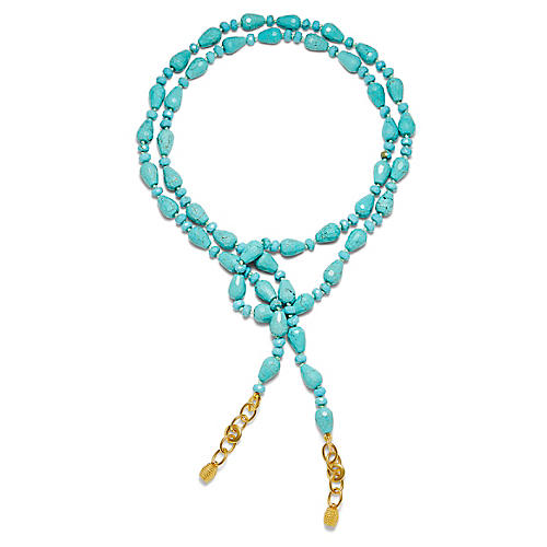 14-Kt Teardrop Lariat Necklace, Turquoise