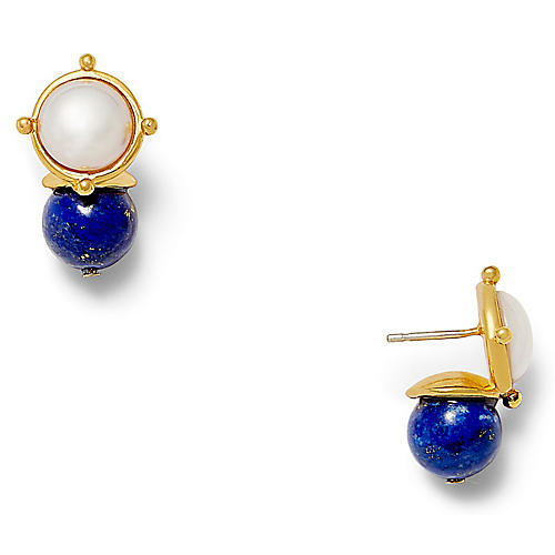18-Kt Lapis Lazuli & Pearl Earrings, Blue