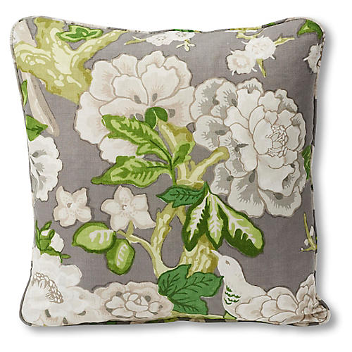 Blossoms 18x18 Pillow, Slate/Green Linen