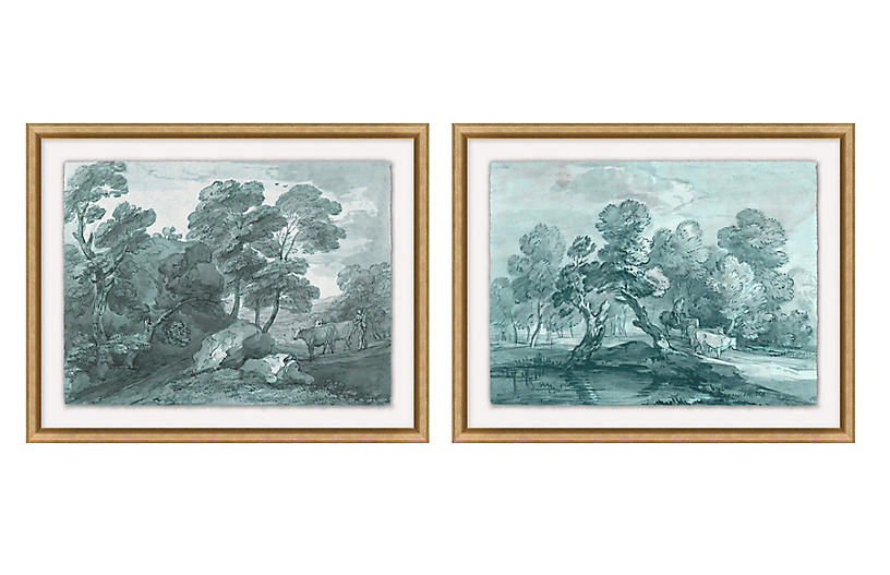 Wooden Landscape Set of 2
