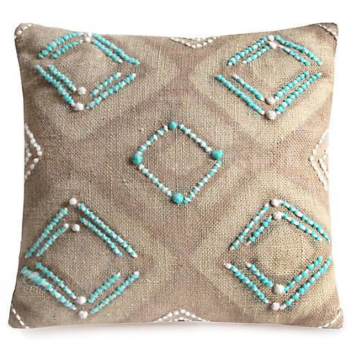 Almasi 22x22 Pillow, Flax/Turquoise