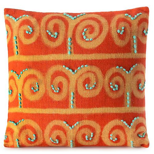 Koa 18x18 Lumbar Pillow, Tangerine/Turquoise