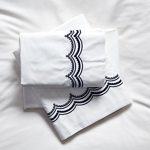 Evelyn Sheet Set, Navy