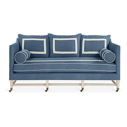 Brentwood Sofa, Medium Blue/Ivory Linen
