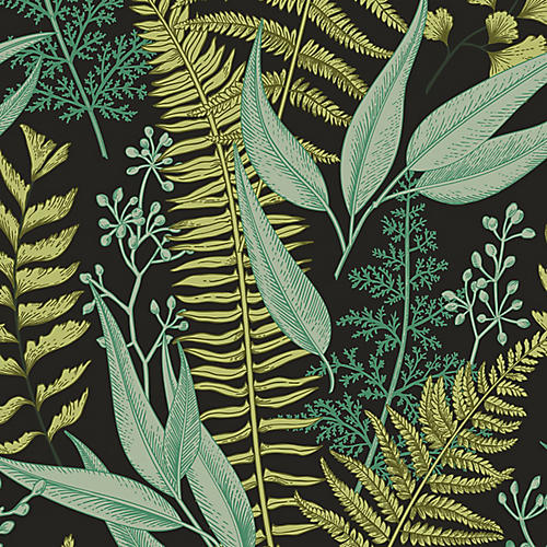 Removable Verdant Botanic I Wallpaper, Green
