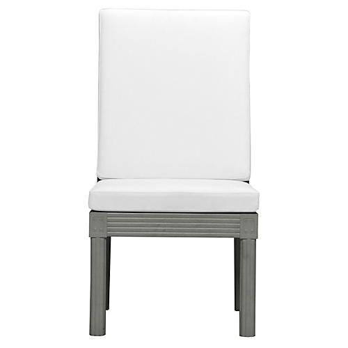 Quadratl Side Chair, Silver/White