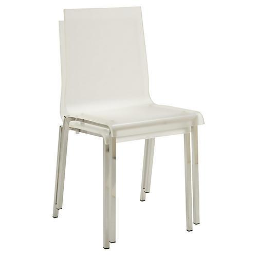 Ecco Side Chair, Clear/Silver