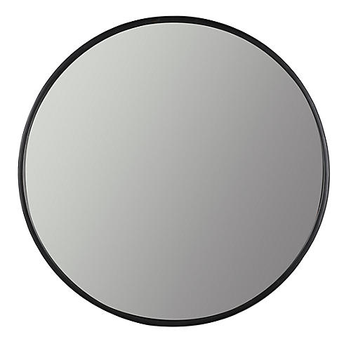 Luna Round Wall Mirror, Black