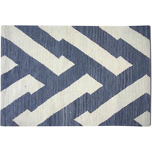 2'x3' Egyptian Kilim Rug, Ivory/Dark Blue