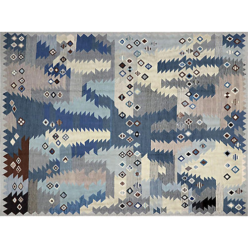 "8'2""x10'2"" Egyptian Kilim Rug, Blue/Gray"