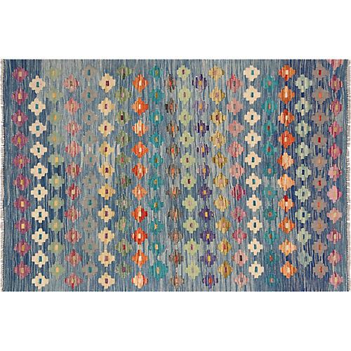 """3'5""""x4'10"""" Afghan Maimane Kilim Rug, Blue/Green"""