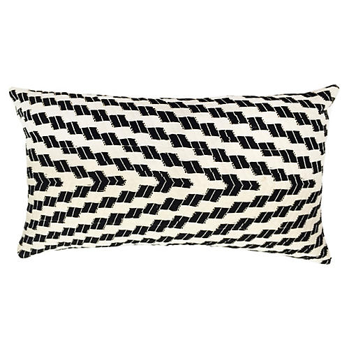 Almolonga 12x20 Lumbar Pillow, White/Black