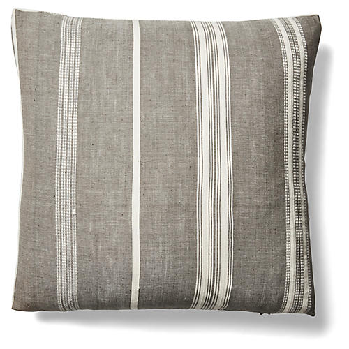 Tayla 26x26 Pinstripe Pillow, Gray/Natural