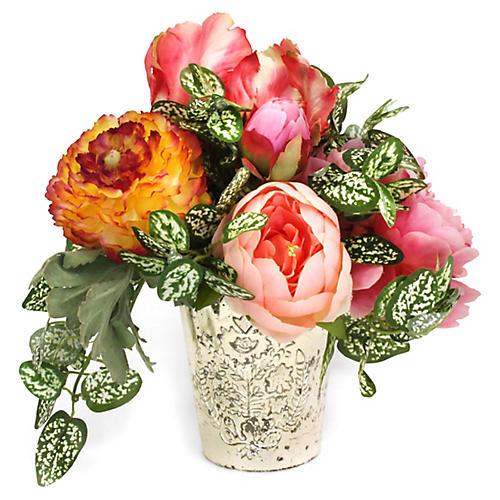 """11"""" Garden Floral Arrangement w/ Vase, Faux"""