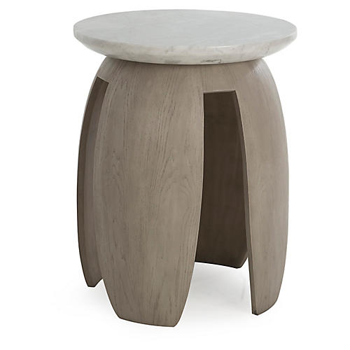 Pedestal Side Table, Taupe