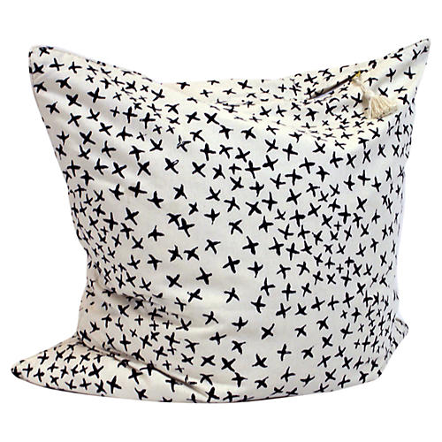 Normandy Cross 26x26 Pillow, Blue/Oatmeal