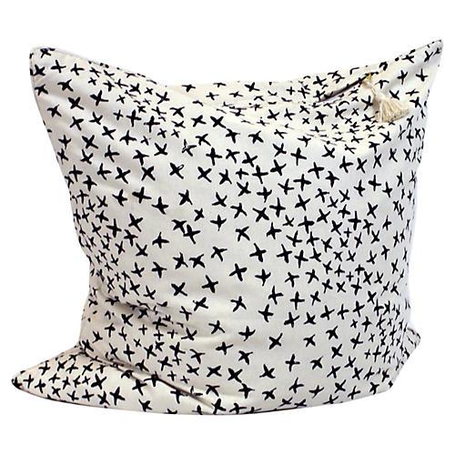 Normandy Cross 26x26 Pillow, Blue/Oatmeal