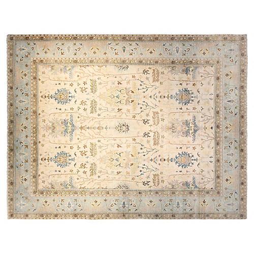 12'x15' Sari Wool Michelle Rug, Ivory/Aqua