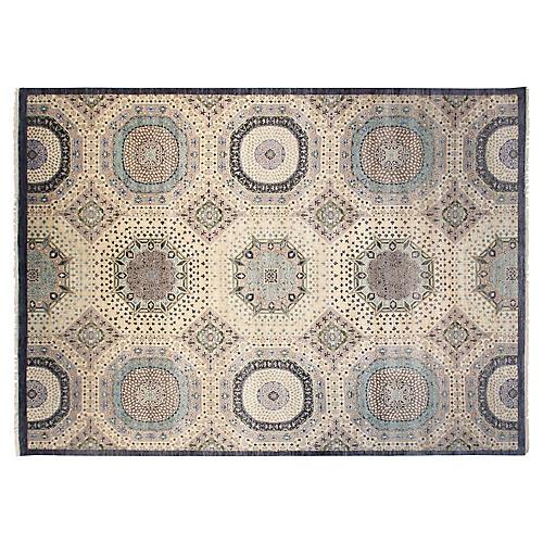 9'x12' Sari Wool Mamluk Rug, Ivory/Blue