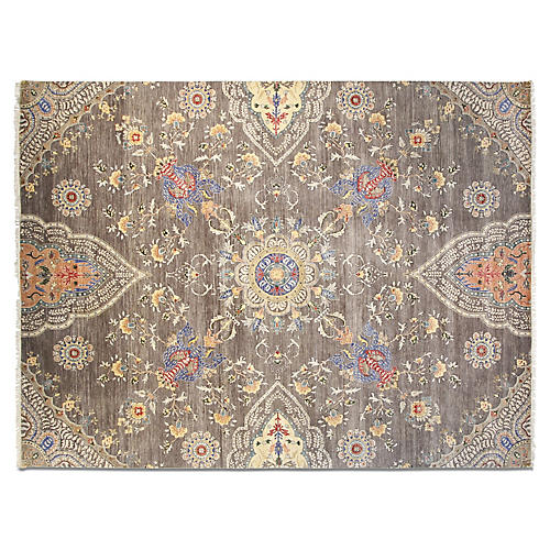 9'x12' Sari Wool Grace Rug, Gray