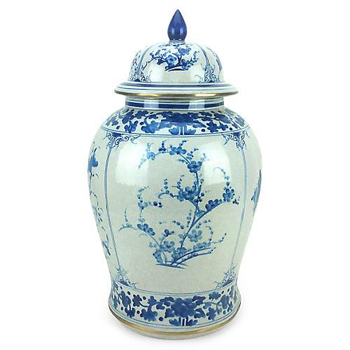 """23"""" Four-Panel Ginger Jar, Blue/White"""