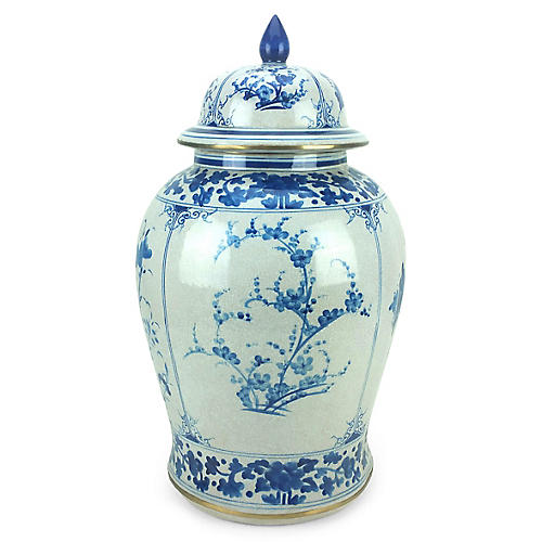"23"" Four-Panel Ginger Jar, Blue/White"