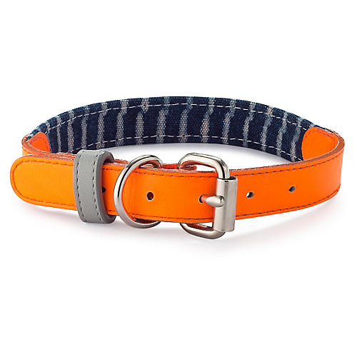 Leather & Canvas Collar, Orange