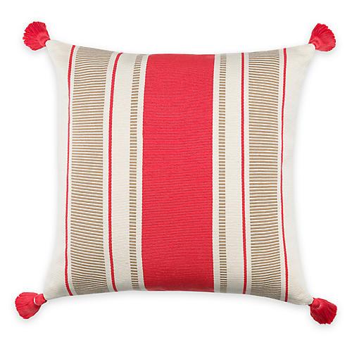 Cabana Stripe 20x20 Pillow, Coral