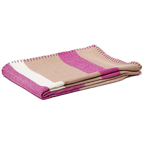 Block-Stripe Alpaca Throw, Camel/Peony