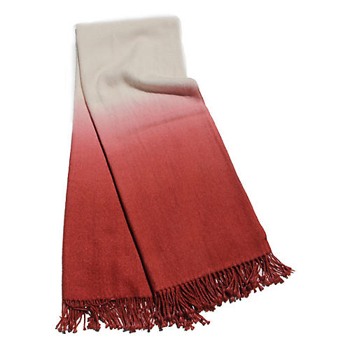 Dip-Dye Alpaca Throw, Spice