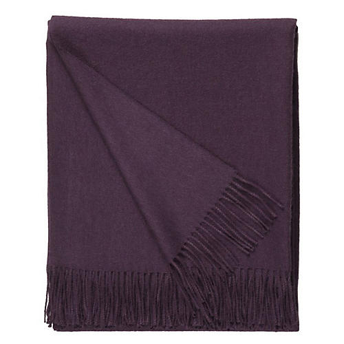 Madison Alpaca Throw, Eggplant