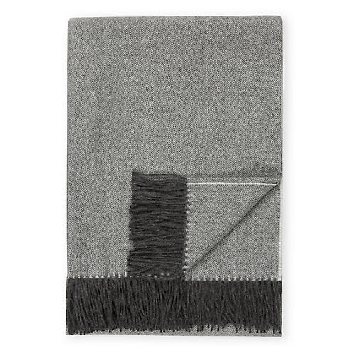 Madison Alpaca Throw, Charcoal Herringbone