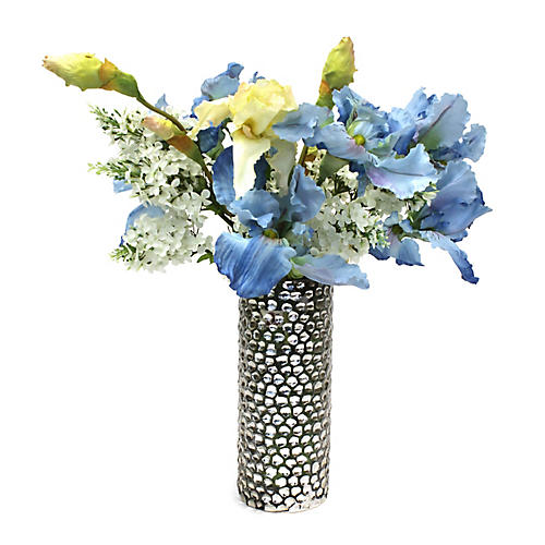 "23"" Iris Mix w/ Pebbled Vase, Faux"