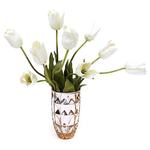 """24"""" Cream Tulip Arrangement w/ Vase, Faux"""