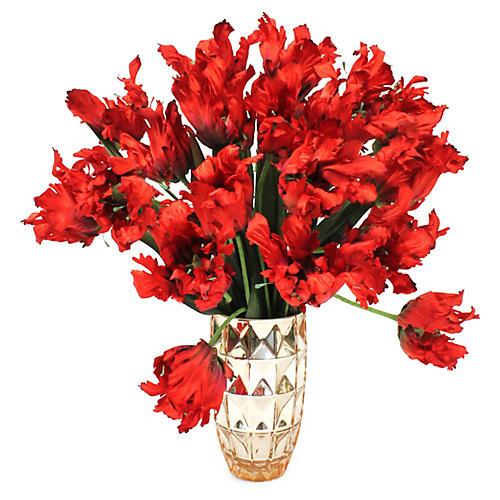 """25"""" Red Tulip Arrangement w/ Vase, Faux"""