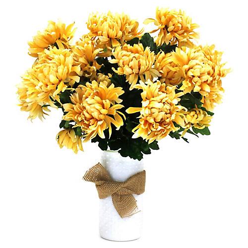 """20"""" Yellow Mum Arrangement w/ Dotted Vase, Faux"""