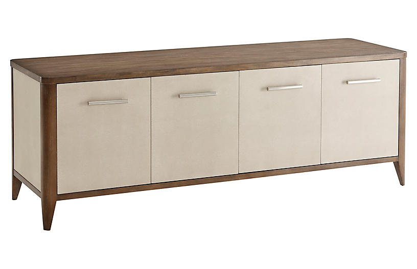 Creswick Faux-Shagreen Media Console, Natural