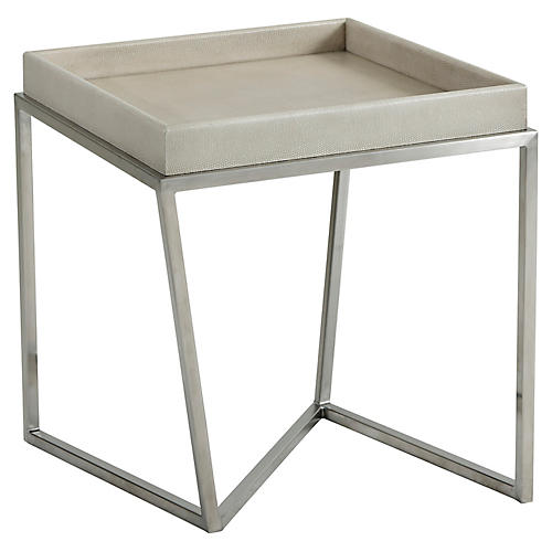 Crazy X Faux-Shagreen Side Table, Overcast