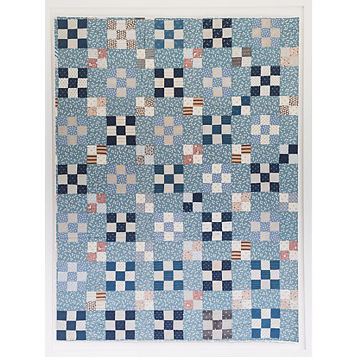 Dawn Wolfe, Blue Checker Quilt Print