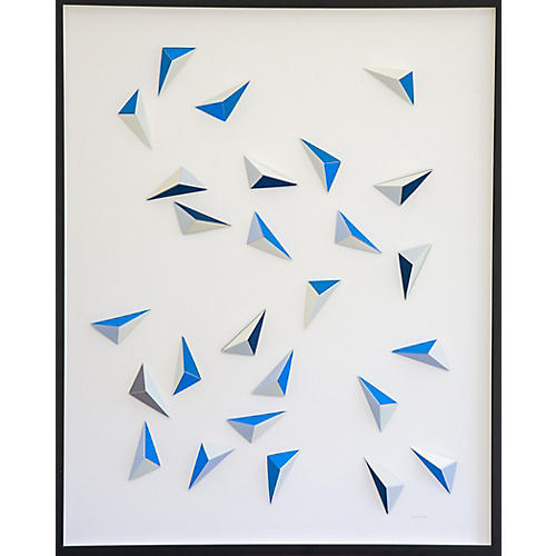 Dawn Wolfe, Origami Blue Triangle Abstract